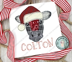 Raggedy Santa Hat Cow Head Applique Design ~ Christmas Cow